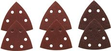 BOSCH RED DETAIL SANDER ABRASIVE TRIANGLES FOR WOOD, ASSORTED GRITS, 3-1/2 IN., 6 PACK