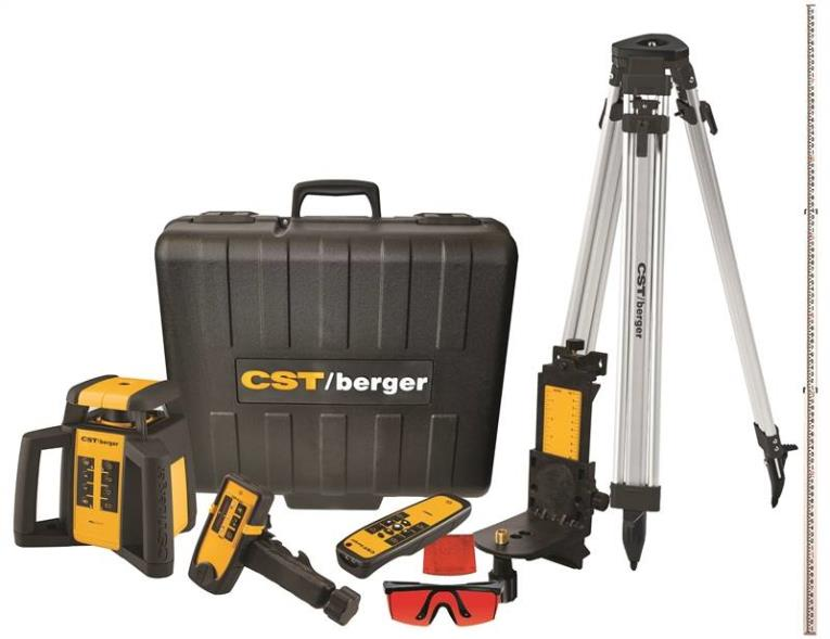 CST Self-Leveling Rotary Laser Level Kit, 3/32 in at 100 ft, 2000 ft, D-Cell Battery