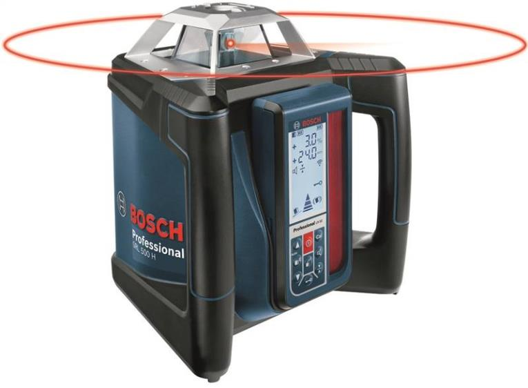 Bosch GRL500HCK Electronic Self-Leveling Rotary Laser Kit, 1/16 in at 100 ft, 1650 ft, Battery, Plastic Composite