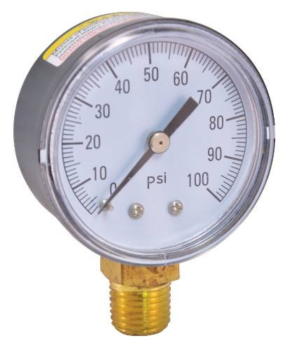 PRESSURE GAUGE 0 TO 100 PSI, 2 IN. FACE, LEAD FREE