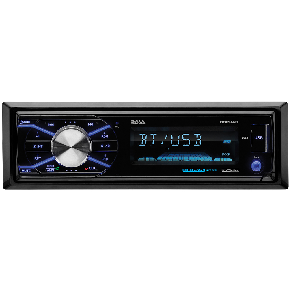 Boss Audio Systems 632UAB Single-DIN In-Dash Mechless AM/FM Receiver with Detachable Face (With Bluetooth)