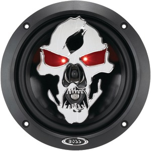 Boss Audio Systems SK653 Phantom Skull Series 3-Way Black Injection Cone Speakers with Custom-Tooled Removable Skull Covers (6.5
