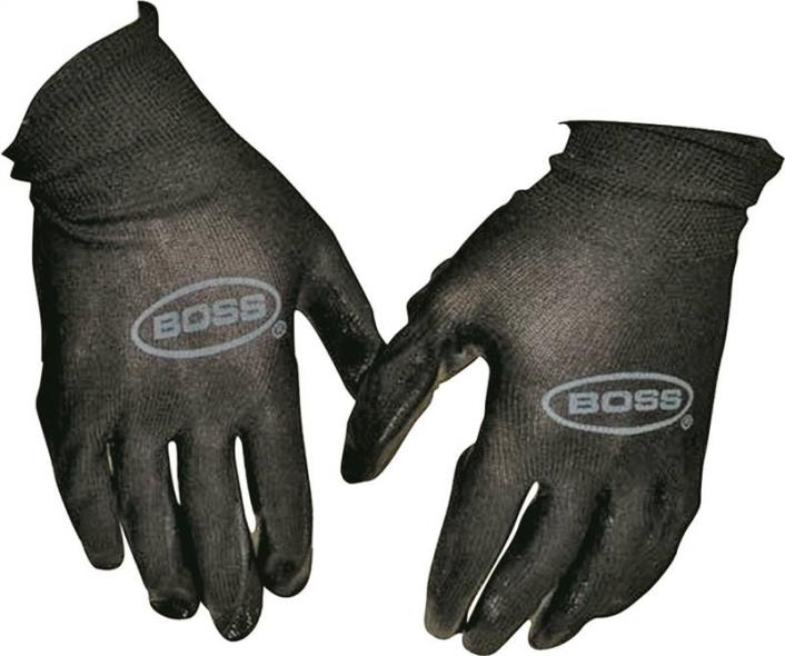 Boss 7850N Protective Gloves, Mens/Large, Nylon Shell, Black, Unlined Lining