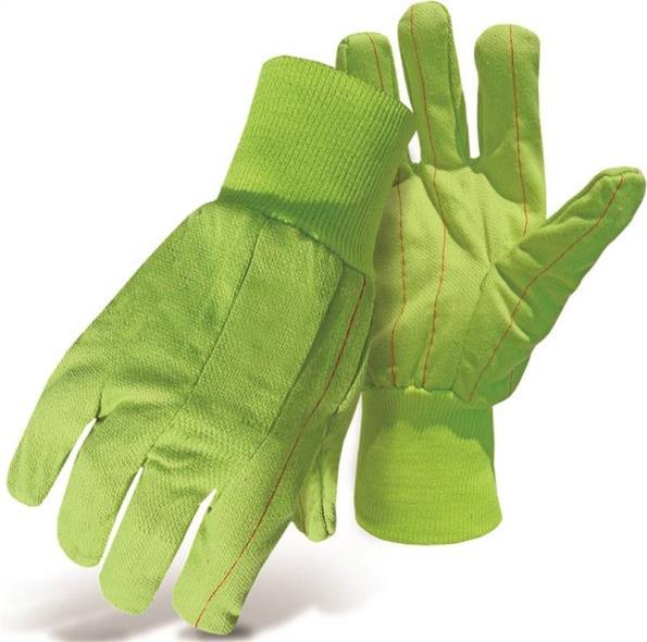 Boss 30PCN Protective Gloves, Poly/Cotton, Hi-Viz Fluorescent Green