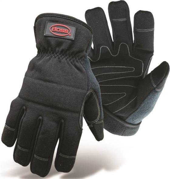 Boss 5207L Utility Gloves, Large, Black, Double-Layer Fleece, Padded Lining
