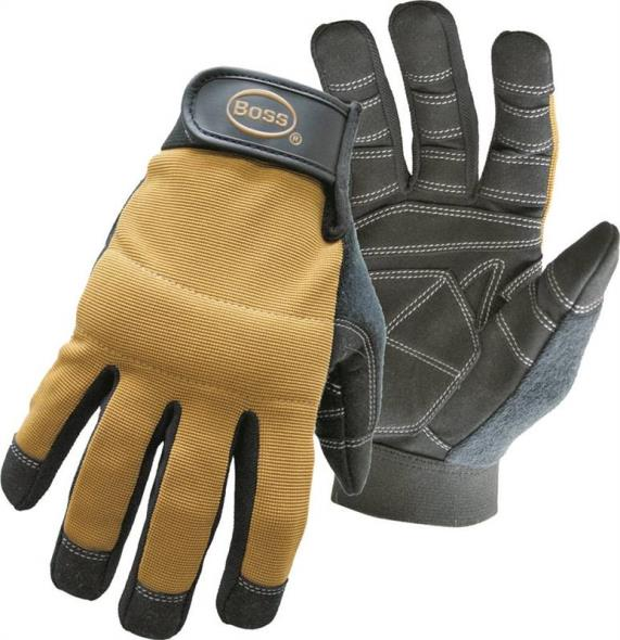 Boss 5206L All-Purpose X-Tough Mechanic Gloves, Large, Padded Knuckle Lining