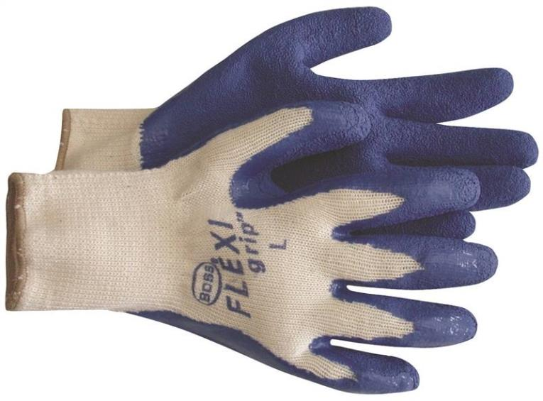 Flex Grip 8426L Ergonomic Protective Gloves, Large, Poly/Cotton Back, White/Red, Unlined Lining