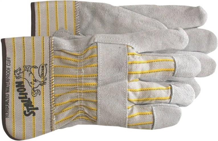 Boss 1290J Driver Gloves, Jumbo, Cotton Back, Gray/Yellow, Absorbent Palm Lining