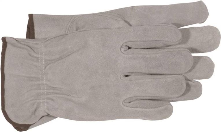 Boss 4065L Driver Gloves, Large, Split Leather, Gray, Unlined Lining
