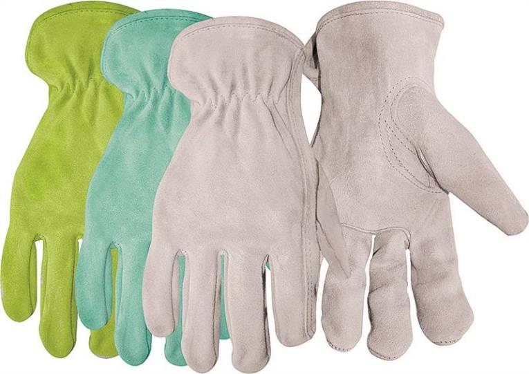 Boss 737 Assorted Driver Gloves, Women's/One Size, Premium Split Leather, Gray/Blue/Green