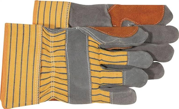 Boss 4057 Driver Gloves, Large, Cotton Back, Yellow/Gray, Unlined Lining