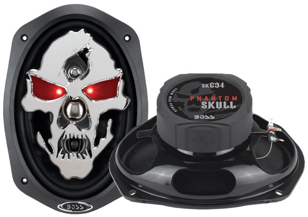 BOSS SK694 CAR SPEAKER PHANTOM SKULL BLK  700 WATTS 6x9 4WAY