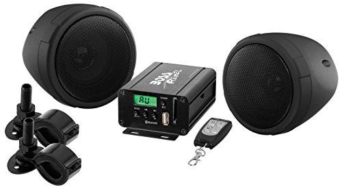 "Boss Motorcycle/UTV Speaker and Amplifier System USB/SD/FM 3"" Waterproof Speakers black"