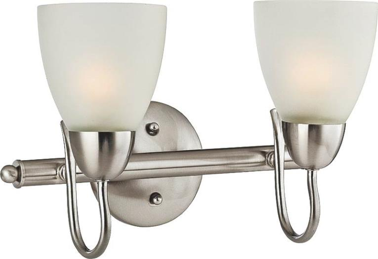 2-Light Vanity Wall Fixture, Brushed Nickel With Frosted Glass Shade