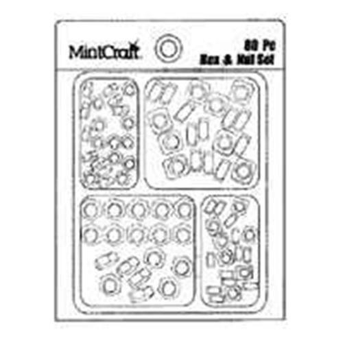 Mintcraft JL42001 Hex and Square Nut Set, 80 Pieces