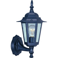 Boston Harbor 1-Light Outdoor Wall Lantern, Black with Clear Glass