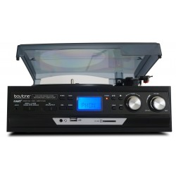 BOYTONE BT17DJB BLACK TURNTABLE WITH MULTI RPM SD/AUX/USB/RCA