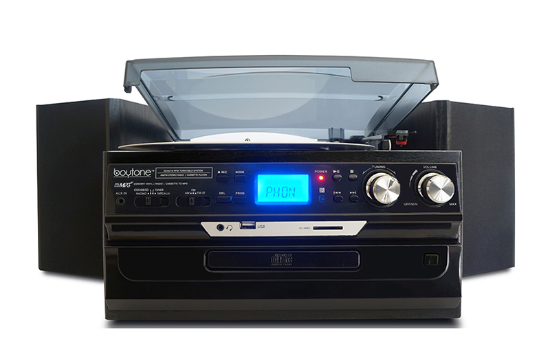 BOYTONE BT24DJB BLACK HOME 7 IN 1 TURNTABLE SYSTEM BLUETOOTH
