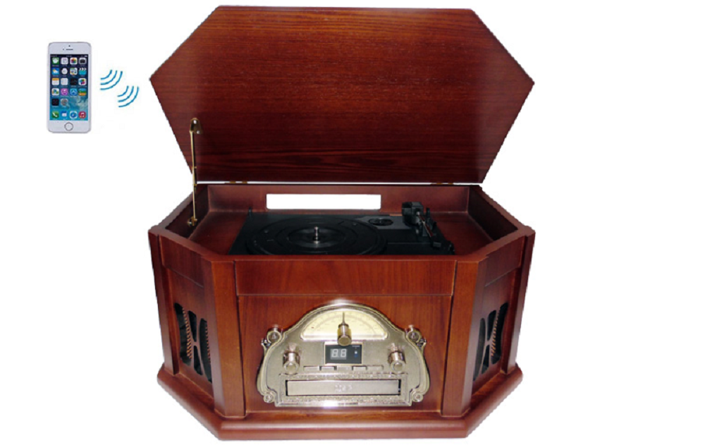 BOYTONE BT25MB WOOD TURNTABLE 8 IN 1 CLASSIC AUDIO SYSTEM