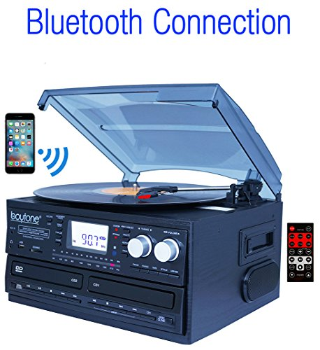 BOYTONE BT29B BLACK TURNTABLE SYSTEM WITH DOUBLE CD RECORDER