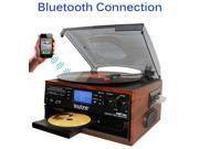 BOYTONE BT22M MOHAGANY TURNTABLE 9 IN 1 SYSTEM WITH BLUETOOTH