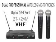 BOYTONE BT42VM DUAL CHANNEL WIRELESS VHF TWO MICROPHONES WITH