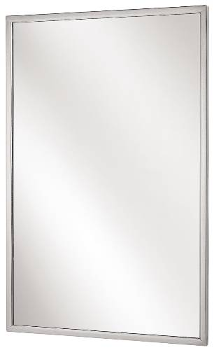 "18"" x 30"" Bradley Angle Frame Mirror, Stainless Steel"
