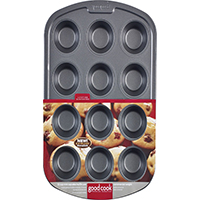 Goodcook 04031 Non-Stick Muffin Pan, 2-3/4 in Dia x 18.3 in L x 11.8 in W x 8.1 in H, Steel