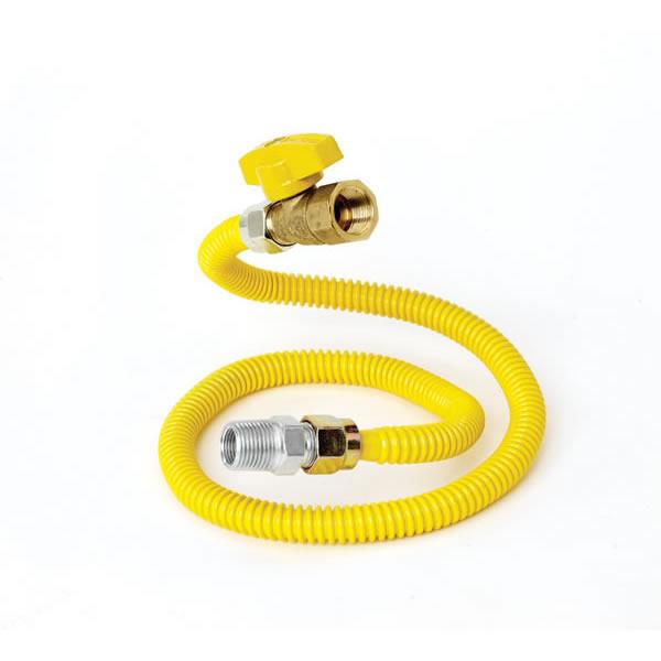 """Gas Appliance Connector, 1/2"""" X 24"""", W/shut Off Valve"""