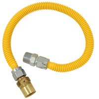 BrassCraft CSSC91R-36P Straight Gas Connector, 3/4 in, MIP, 36 in L, 125000 BtuH Natural Gas, 200000 BtuH Propane Gas