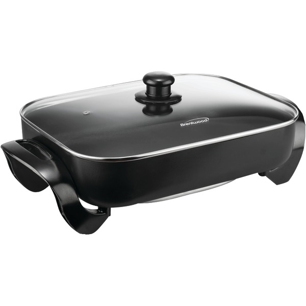 """Brentwood SK-75 16"""" Electric Skillet with Glass Lid, Non-Stick Black"""