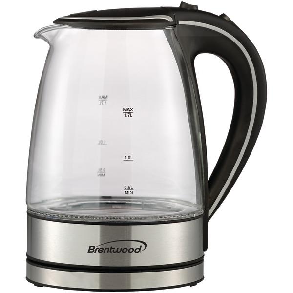 Brentwood KT-1900BK 1.7 Liter Borosilicate Glass Tea Kettle, Black
