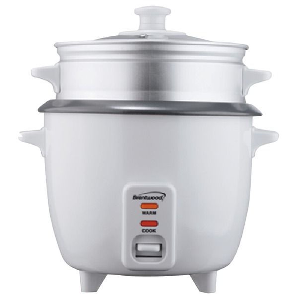 Brentwood TS-380S Rice Cooker 10 Cup Capacity with Steamer, White