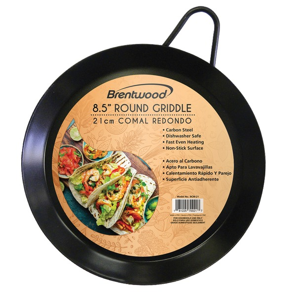 Brentwood Appliances BCM-21 Carbon Steel Non-Stick Round Comal Griddle (8.5-Inch)