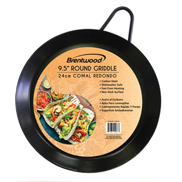 Brentwood Appliances BCM-24 Carbon Steel Non-Stick Round Comal Griddle (9.5-Inch)