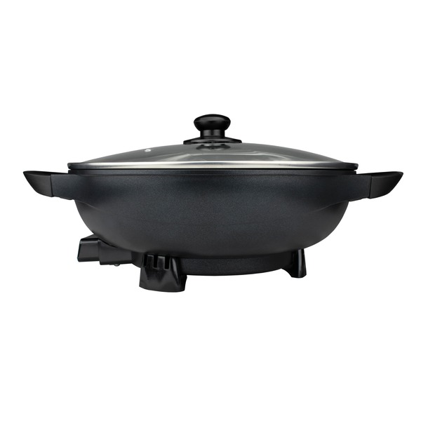 Brentwood Appliances SK-69BK 13-Inch Non-Stick Flat-Bottom Electric Wok Skillet with Vented Glass Lid