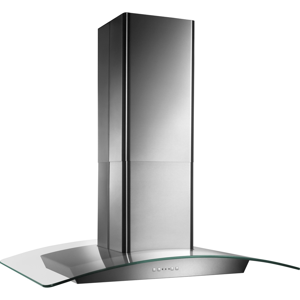 500 CFM Island version Curved Glass Canopy Chimney Range Hood with Electronic Control, Stainless steel