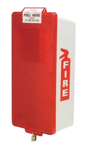 BROOKS' MARK II JUNIOR SERIES WHITE FIRE EXTINGUISHER CABINET WITH RED COVER AND LOCK, SMALL
