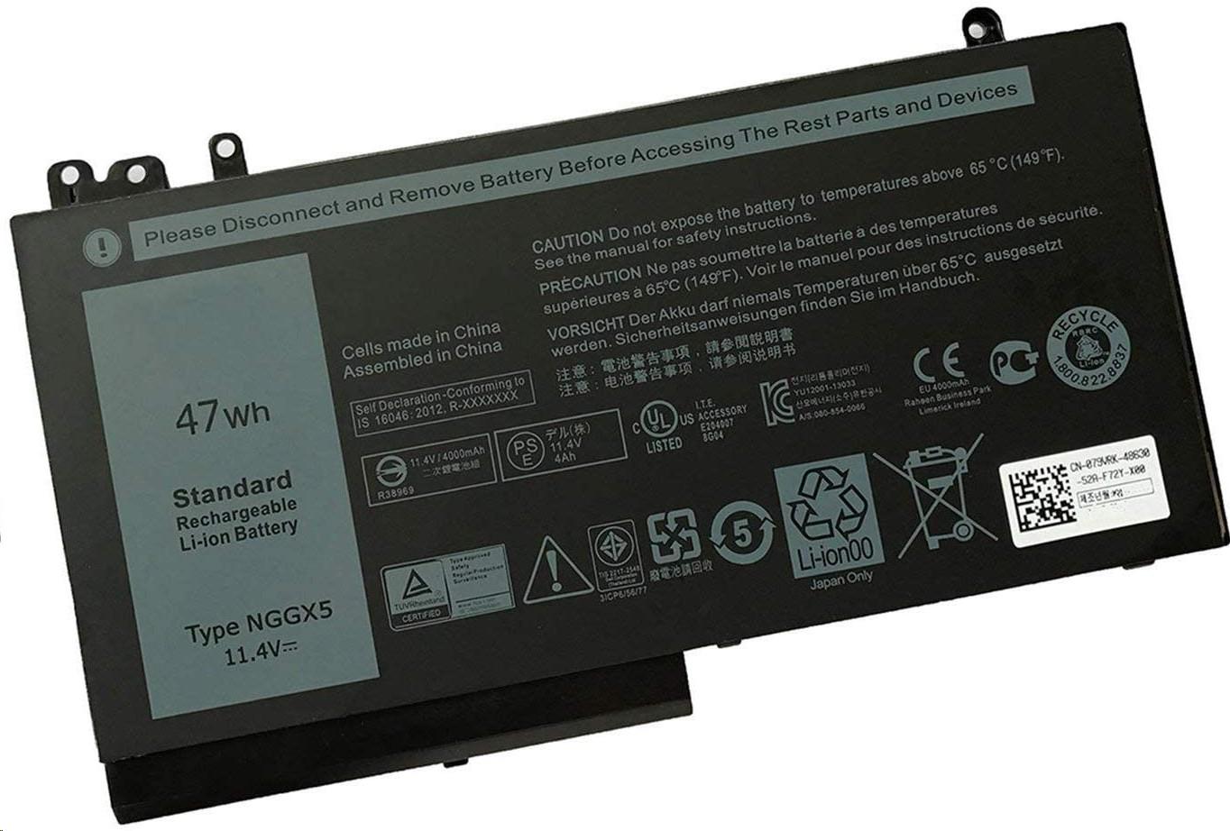 BTI Battery Li-Ion 3-Cell Primary 11.4V 47Whr For Dell Latitude E5270 NGGX5-BTI