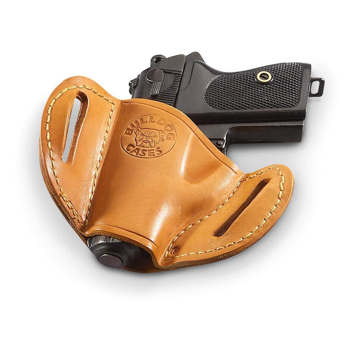 Bulldog Large right hand tan molded leather belt slide holster