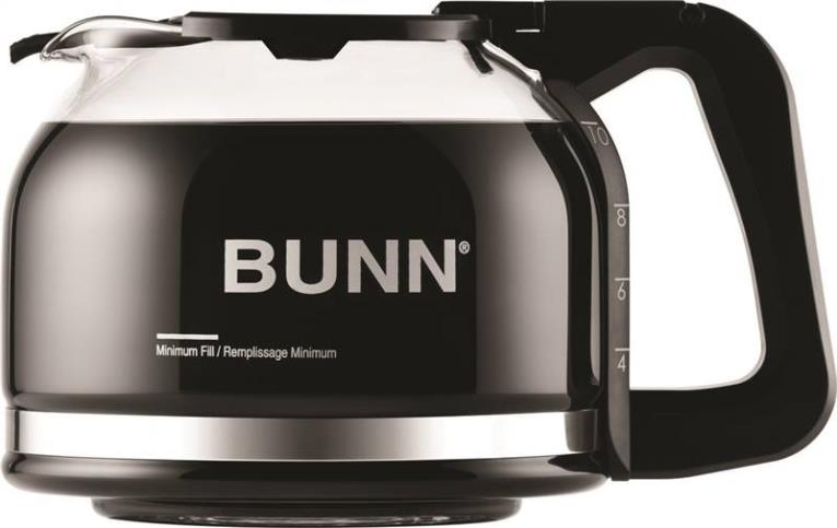 Bunn 49715.0100 Drip-Free Coffee Pot, For Use With Most Bunn 10 Cup Home Coffeemakers, High Quality Glass, Black