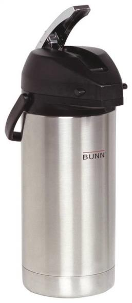 Bunn-o-matic 36725.0000 Lever-Action Airpot Coffeepot, 3.8 l Capacity, Stainless Steel Liner, Chrome, Black Trim