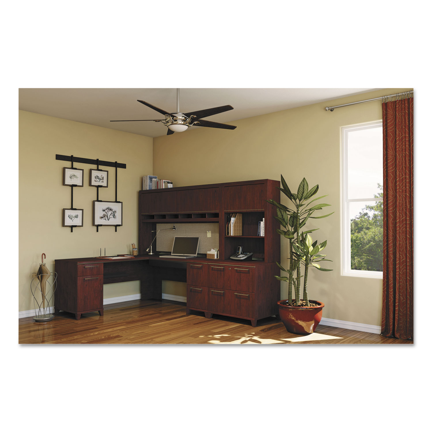 Enterprise Collection 72W x 72D L-Desk, Harvest Cherry (Box 2 of 2)