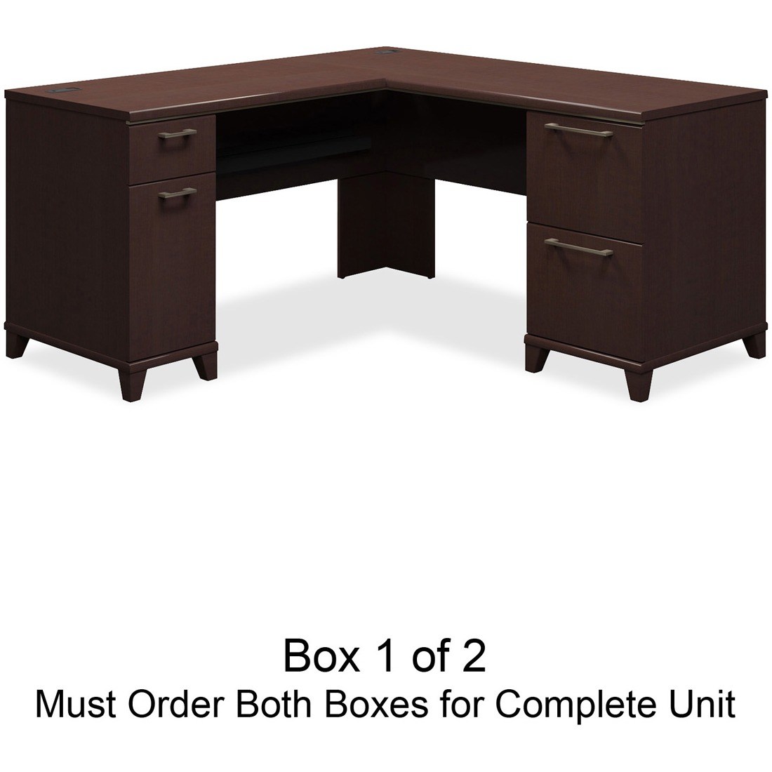 Enterprise Collection 60W x 60D L-Desk, Mocha Cherry (Box 1 of 2)