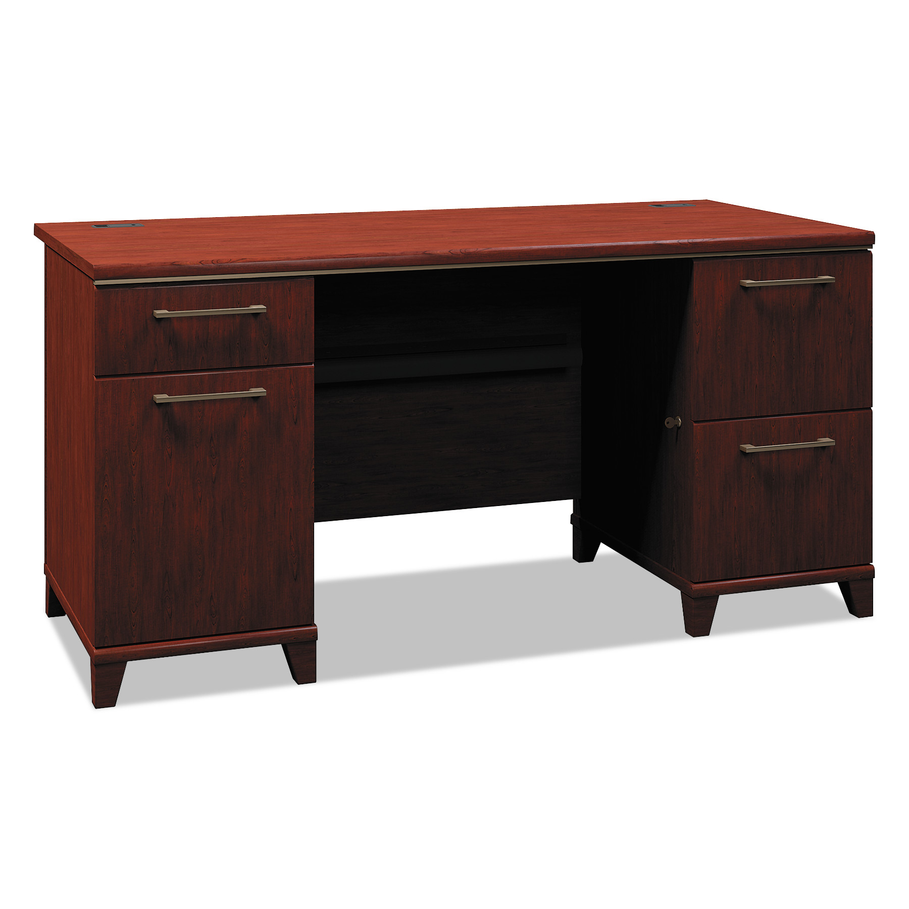 Enterprise Collection 60W Double Pedestal Desk, Harvest Cherry (Box 1 of 2)