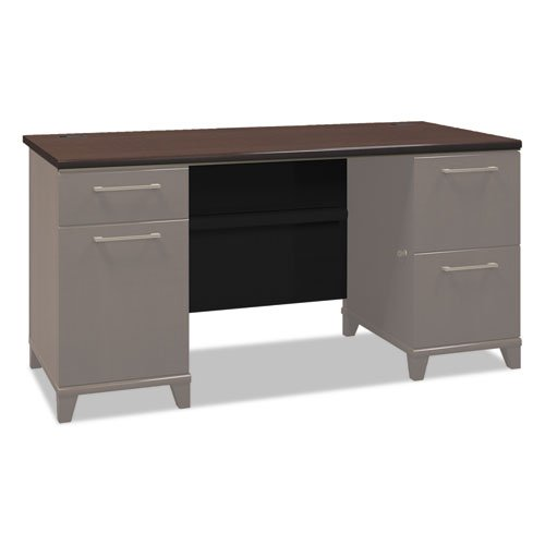 Enterprise Collection 60W Double Pedestal Desk, Mocha Cherry (Box 2 of 2)