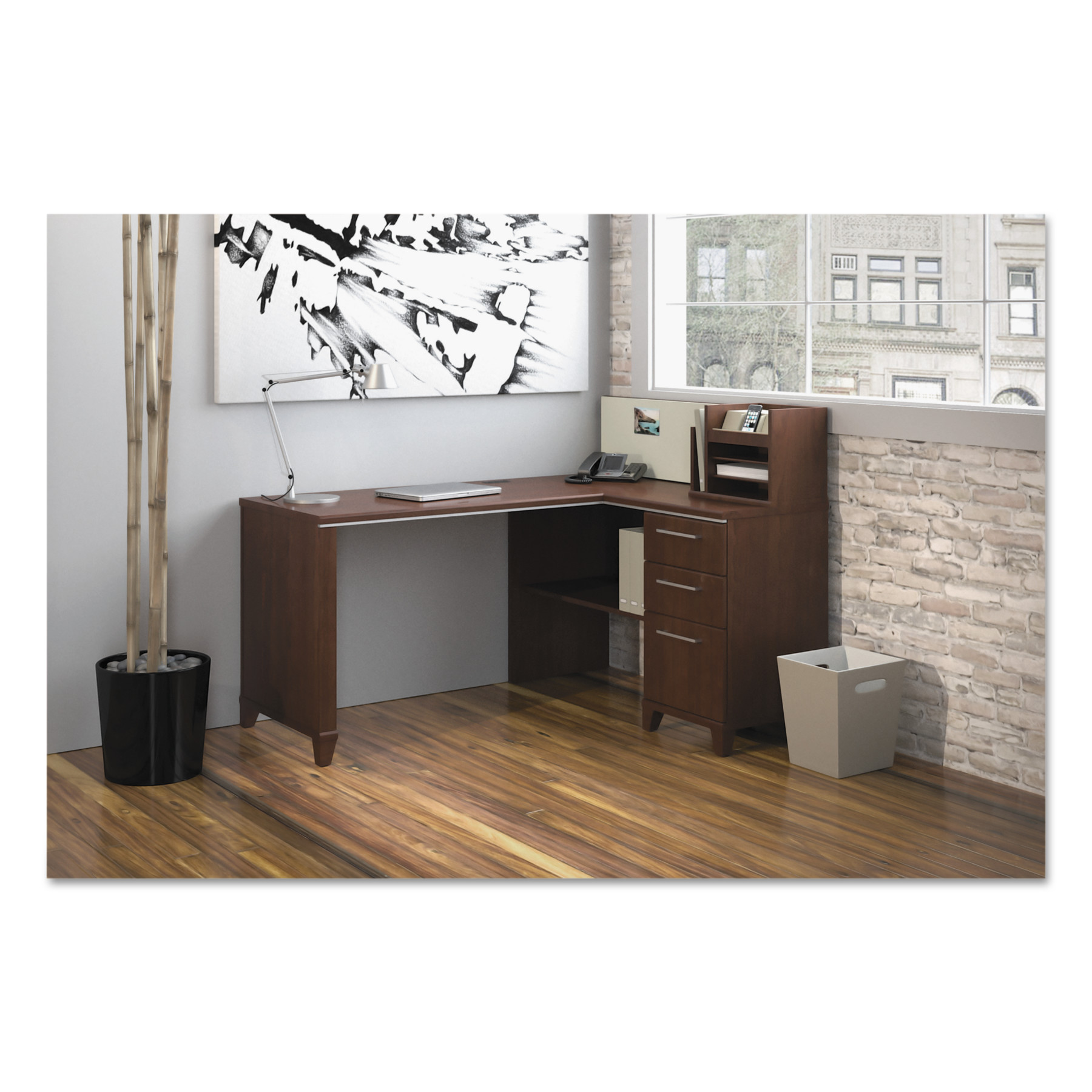 Enterprise Collection 60W x 47D Corner Desk, Harvest Cherry (Box 1 of 2)