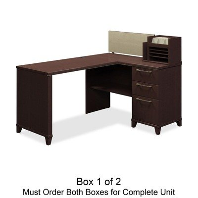 Enterprise Collection 60W x 47D Corner Desk, Mocha Cherry (Box 1 of 2)