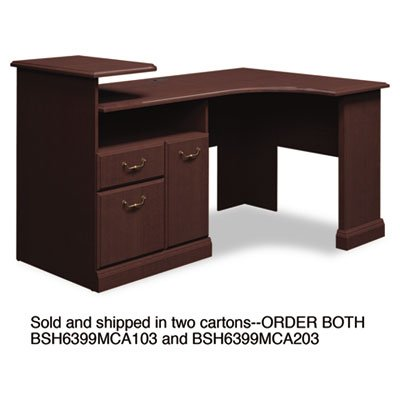 Expandable Corner Desk Solution (B/F/D) Box of 2 Syndicate, Mocha Cherry