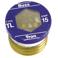 Bussmann TL-15 Medium Duty Time Delay Plug Fuse, 125 VAC, 15 A, 10 kA